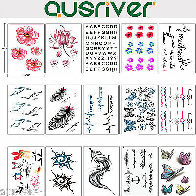 15 Sheets Removable Temporary Fake Tattoo Sticker Sexy Body Art Waterproof
