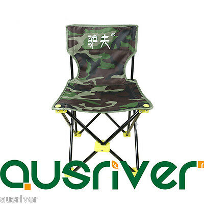 Portable Fishing OutdoorChair Seat Folding Cloth Stool Backrest Rod Holder Camou