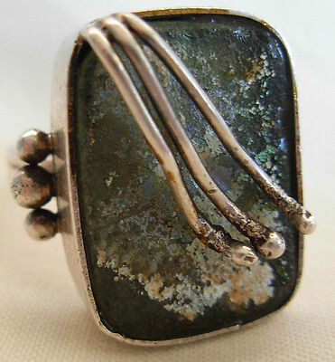 Sterling Silver Ring Set With Ancient  Roman Glass