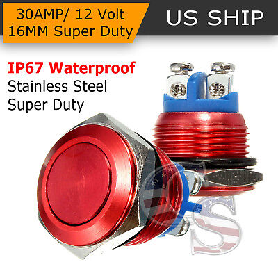 16mm RED Water Proof Starter Switch Boat Horn Momentary Button Stainless Steel