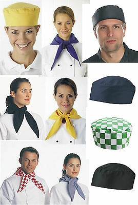 Chef Skull Cap Hat & Scarf / Neckerchief Chefs Catering Head And Neck Wear