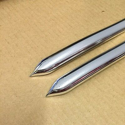 "Vintage Style 5/8"" Silver & Chrome Side Body Trim Molding - Formed Pointed Ends"