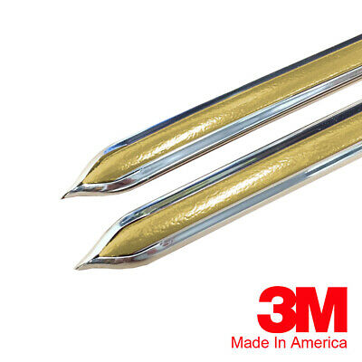 "Vintage Style 5/8"" Gold & Chrome Side Body Trim Molding - Formed Pointed Ends"