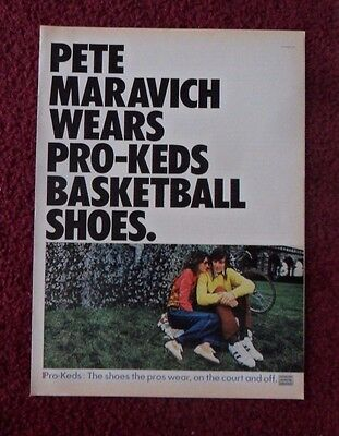 1972 Print Ad Pro Keds Basketball Shoes ~ Pistol Pete Maravich On & Off Court