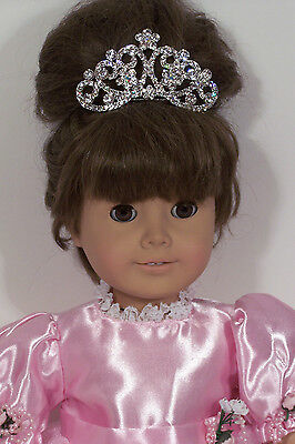 """Pink Jeweled Tiara /& Wand fits 18/"""" American Girl Size Doll Princess Queen"""
