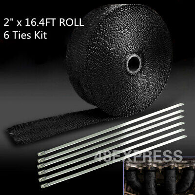 Roll Black Titanium Exhaust Header Pipe Heat Wrap Tape+Stainless Ties Kit 5CM*5M