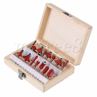 "15pcs Tungsten Carbide Router Bit Woodworking Tools Wooden Case 1/4"" Shank"