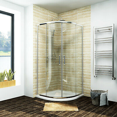 Walk In Quadrant Shower Enclosure Corner Cubicle Glass Door+Stone Tray+Waste