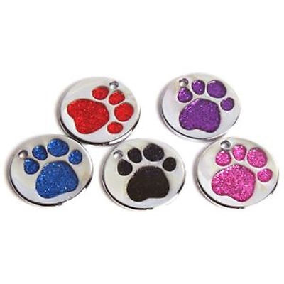 25mm Nickel Plated Metal Pet Tag with Glitter Paw FREE ENGRAVING GLT1000