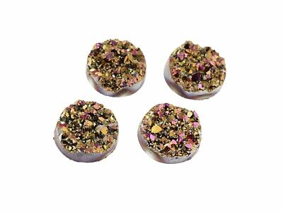 """4 Cabochons """"Eiskristalle"""" in gold-rosa, 12 mm"""