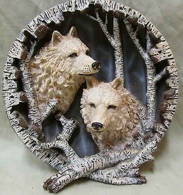 Vintage Two Wolves With Aspen Trees 3-D Ceramic Plate, 8 Inches