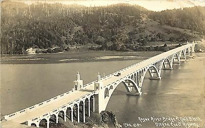 1930s Real Photo PC Art Deco Rogue River Bridge Gold Beach OR Patterson 1706