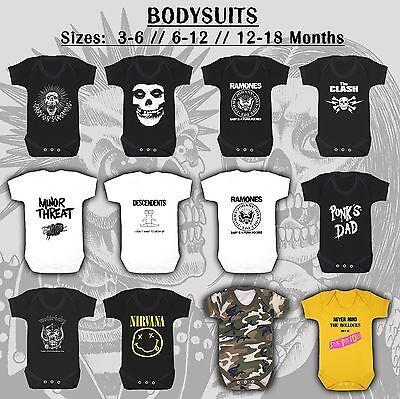 PUNK BABY BODYSUIT 0-18m ramones descendents rock roll bike tattoo skull nirvana