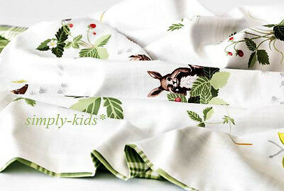 IKEA Crib Duvet Quilt Cover w/ pillowcase VANDRING IGELKOTT Animals White Green