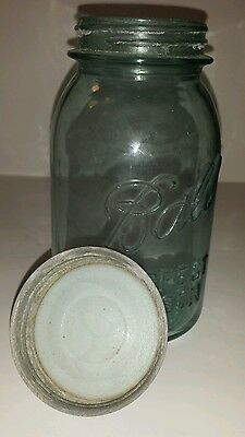 Antique Ball Perfect Mason Canning Jar Quart #2 Bubbles Blue - Green Old Used