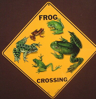 FROG CROSSING Sign aluminum picture decor novelty frogs art signs home animals