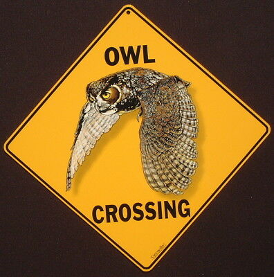 OWL CROSSING SIGN aluminum decor picture birds novelty art signs home wildlife