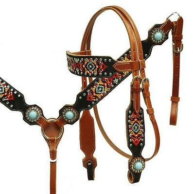 Showman Navajo Embroidered Headstall and Breast Collar Set! TURQUOISE CONCHOS!