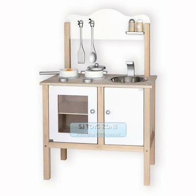 Viga Toy Wooden Noble Kitchen White w/ Accessories Kids Playset Great Xmas Gift