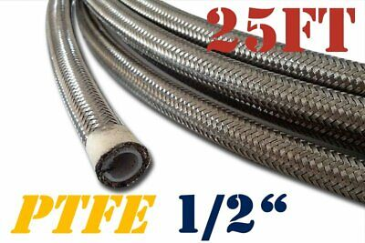 "1/2"" 12Mm Stainless Steel Braided Ptfe Teflon Fuel Hose Line Oil Petrol 25 Ft"