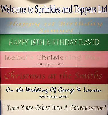 Personalised 45mm Polyester Cake Ribbon, Birthday Christening Wedding Christmas