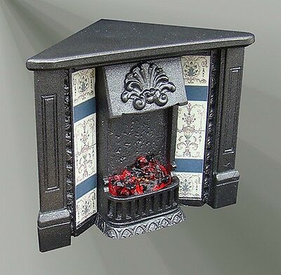 The Victoria Corner Fireplace with Bulb  (F5C) Doll House Miniatures, 1.12 Scale