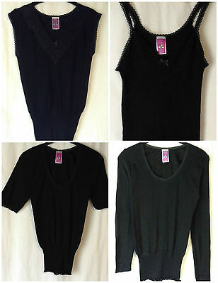 New Womens Plus Sizes 8-24 Black Thermal Vest Short Long Sleeve Warm Underwear