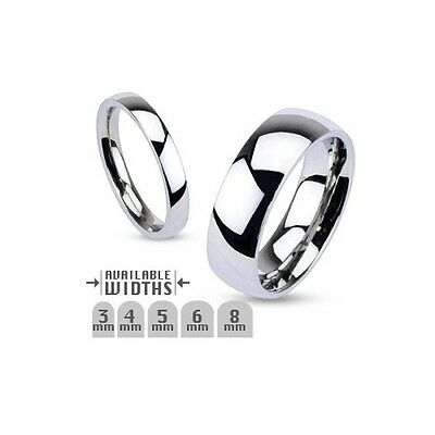 New Stainless Steel Glossy Mirror Polished Traditional Wedding Band Ring