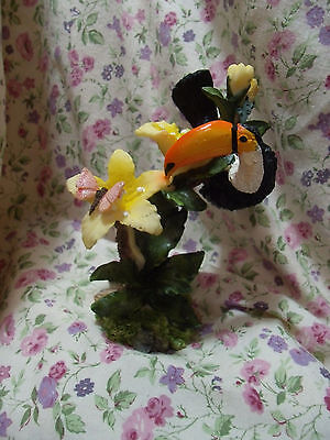 New Toucan With Yelloe Flowers Resin Figure