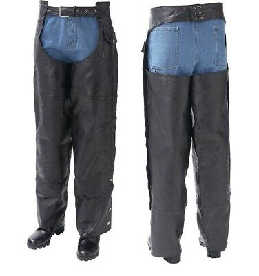 Unisex Leather Motorcycle Chaps Biker Men's Women's Ladies Genuine Buffalo NEW