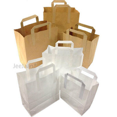 Paper Carrier Bags White Brown Sos Kraft Takeaway Food With Handles Express Del