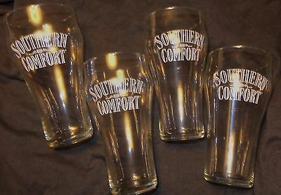 Set of 4 Southern Comfort Drink Glasses - Coca Cola Style Glasses - 16 oz...NEW