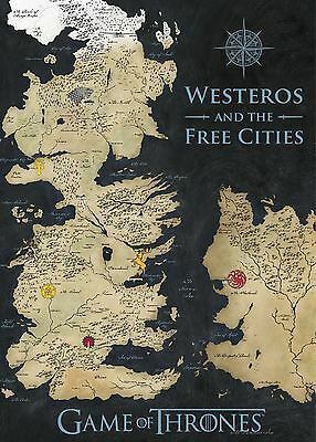 Game of Thrones Westeros Coloured Map Canvas Banner