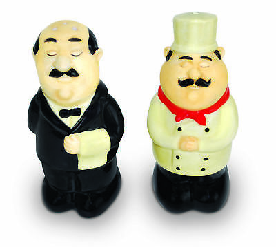 Waiter and Chef Salt and Pepper Shaker with Sound Effects