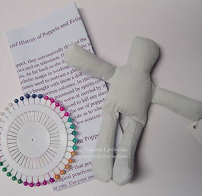 POPPET DOLL KIT - FOLK MAGIC 120mm FULL INSTRUCTIONS WITH PINS Wicca Witch Goth