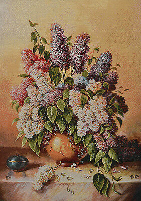 "22"" Silk & Cotton Needlepoint Art  Woven Painting Tapestry:flowers Still Life"