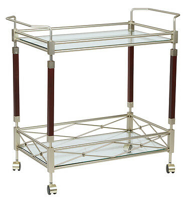 Melrose Serving Cart w/Clear Tempered Glass & Nickel Brush Frame, Solid wood NEW