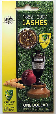 2007 - 125th Anniversary of the Ashes - Australian $1 Coin on Card