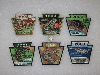 Lot of 6 - Vintage Pennsylvania Fish & Boat Commission Fishing Patches - Mint