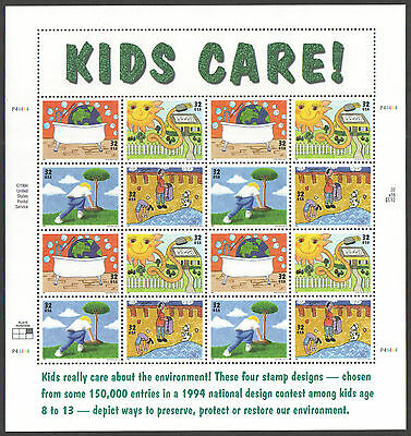 """SG 3017 / 20 USA 1995 """"Kids Care!"""" Earth Day Stamp Sheet unmounted mint"""