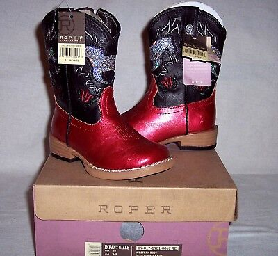 Roper Western Boot Square Toe Toddler Infant Girl Sz 5 Black Red Sparkly Horse