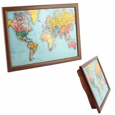 Map Of The World Lap Tray Dinner Breakfast With Built In Cushion Padded Bean Bag