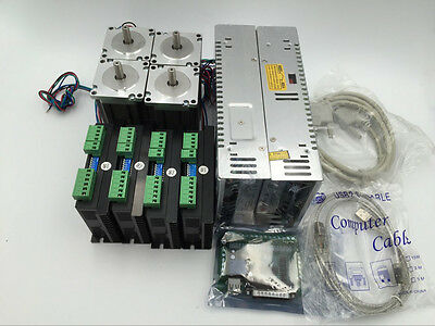 Nema23 Stepper Motor L112mm 4Axis Kit 3Nm +Power Supply+5Axis Breakout Board CNC