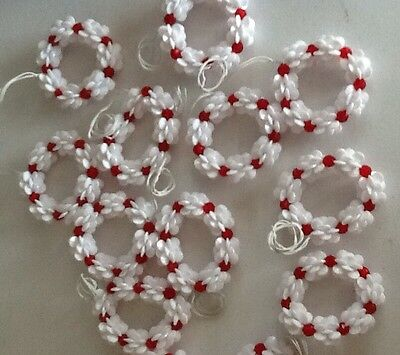 Vintage 80s Handmade Beaded Christmas Ornaments Wreaths For White Tree Lot of 14