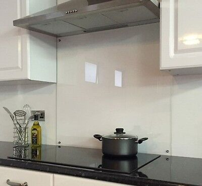 Clear Toughened Glass Splashback With Fixing Holes Heat Resistant - 70cm x 75cm