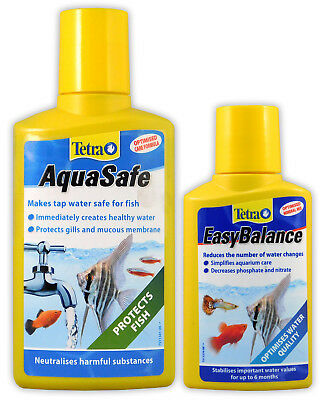 TETRA AQUASAFE 250ml & FREE EASY BALANCE 100ml WATER TAP SAFE AQUARIUM FISH TANK