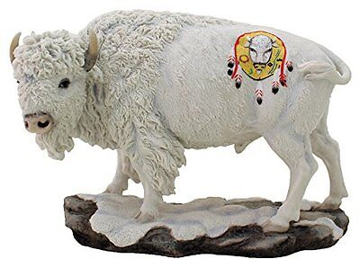"9.5"" Inch Sacred White Buffalo Animal Statue American Native Bison Indian North"