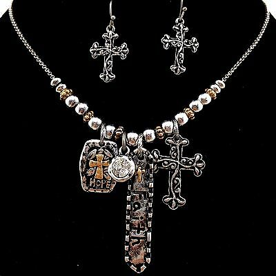 Western Vintage Hammered Cross Faith Hope Pendant Necklace With Earrings Silver