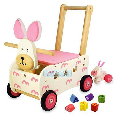 Kids Wooden Walker & Rider Shape Sorting Pink Bunny Rabbit Baby Walking Toy