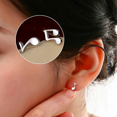 Cute Tiny Women silver plated Musical Note Ear Stud Earrings Gift Funny